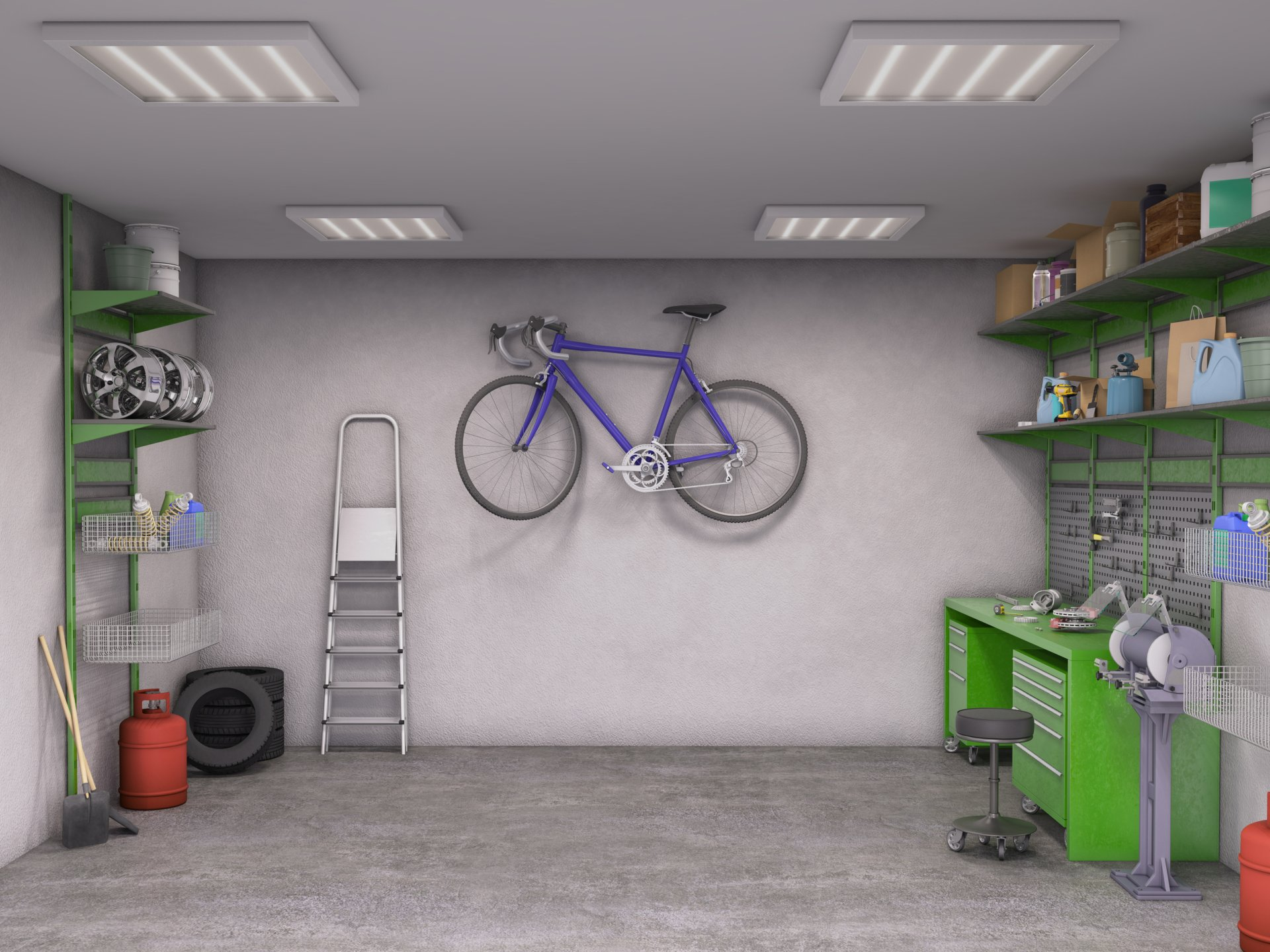 garage interior; 3d illustration, solliciter armoire de cuisine